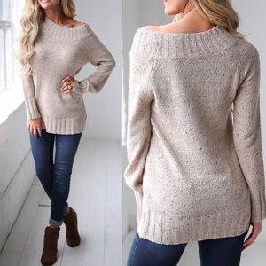 ALYSSA Speckled Knit Sweater